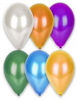 12 Balões metálicos de cores diferentes