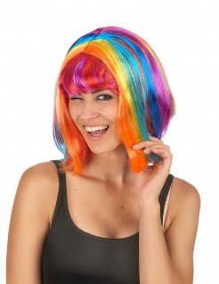 Peruca curta multicolorida com franja para mulher