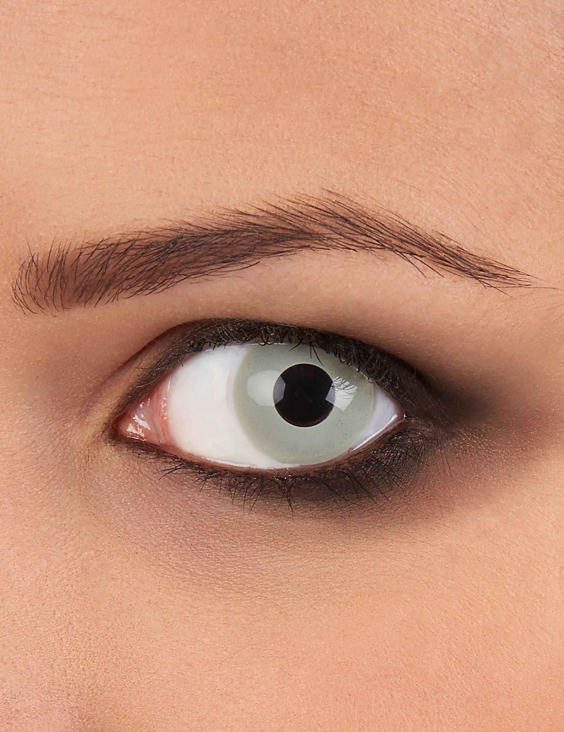 6f3a89104b9b9 Lentes de contacto fantasia olho de zombie cinzento  Maquilhagem ...