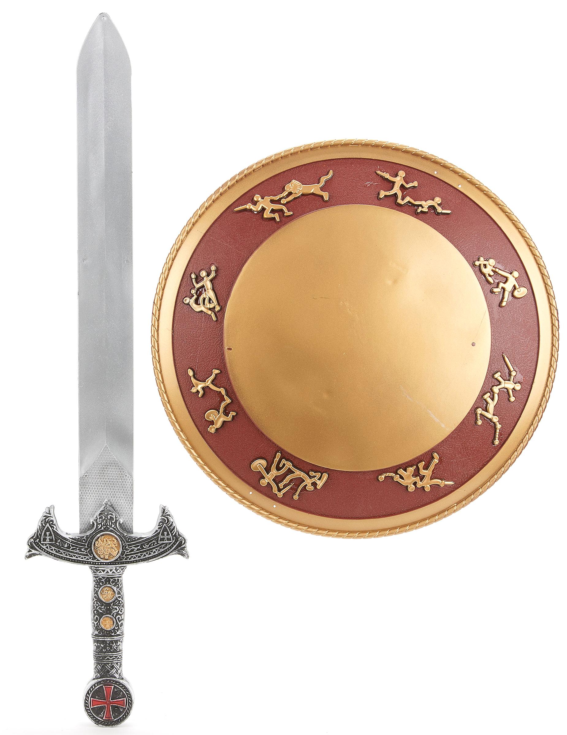 Kit de Gladiador espada e escudo plástico para criança  Acessórios ... 5e7d018d81