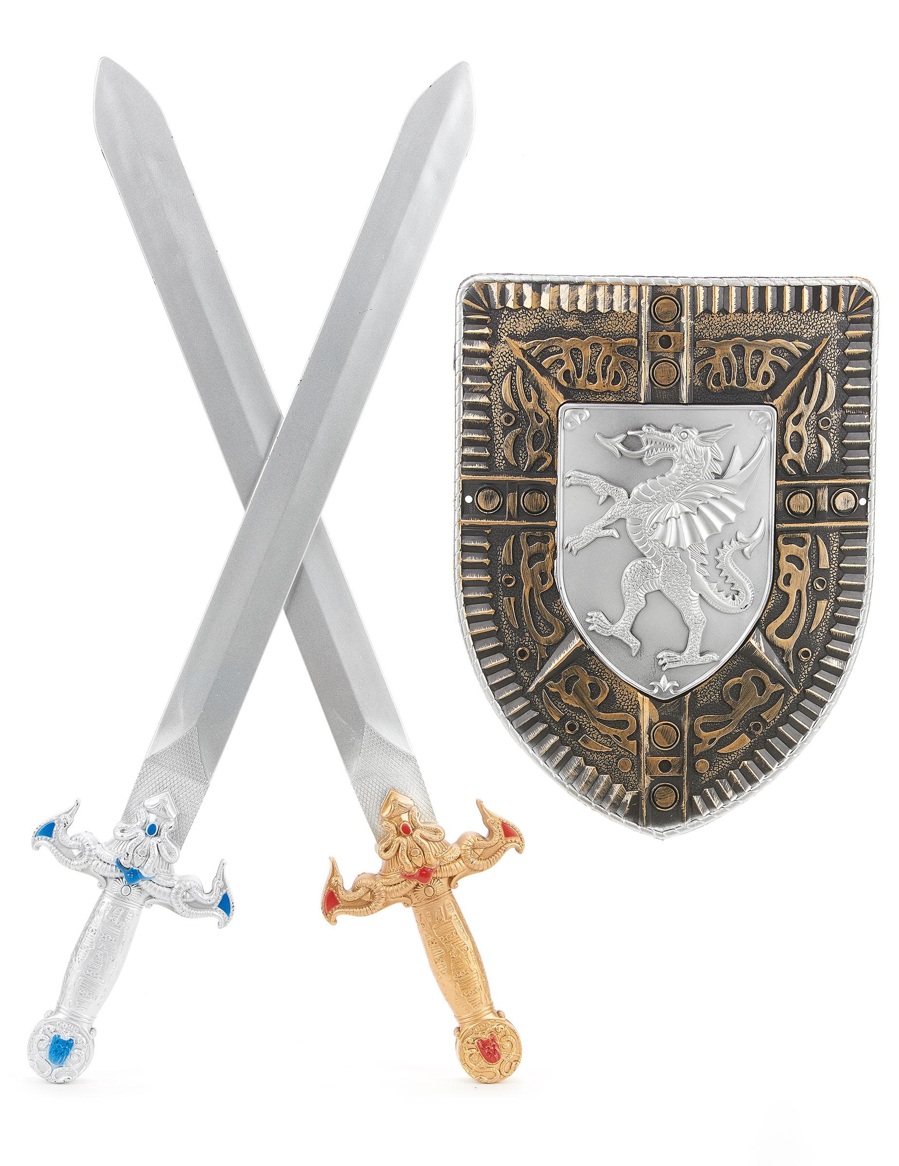 Kit para criança Escudo e 2 Espadas  Acessórios,mascarilhas e fatos ... e2ffc165a4