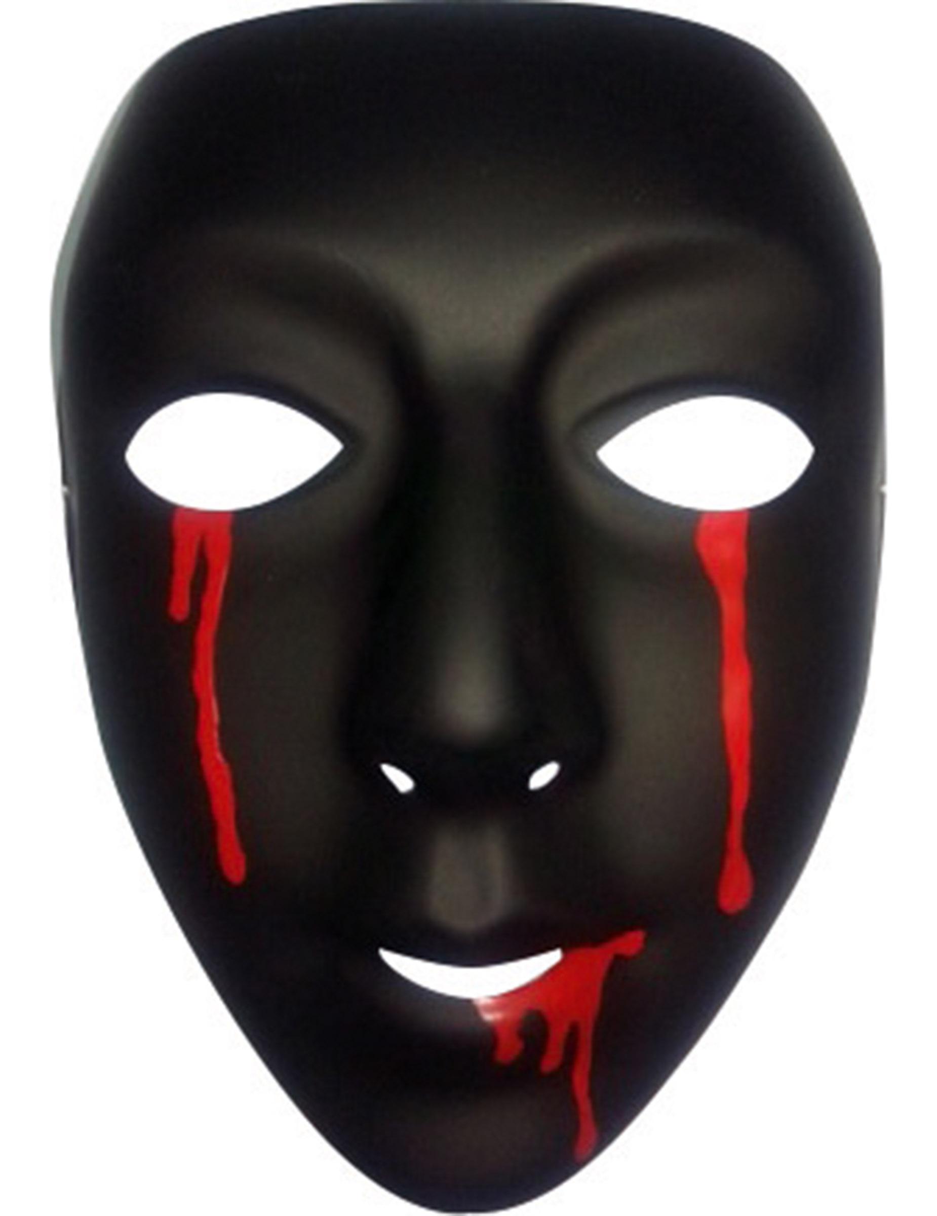 Mascara Preta Com Lagrimas De Sangue Halloween Mascaras