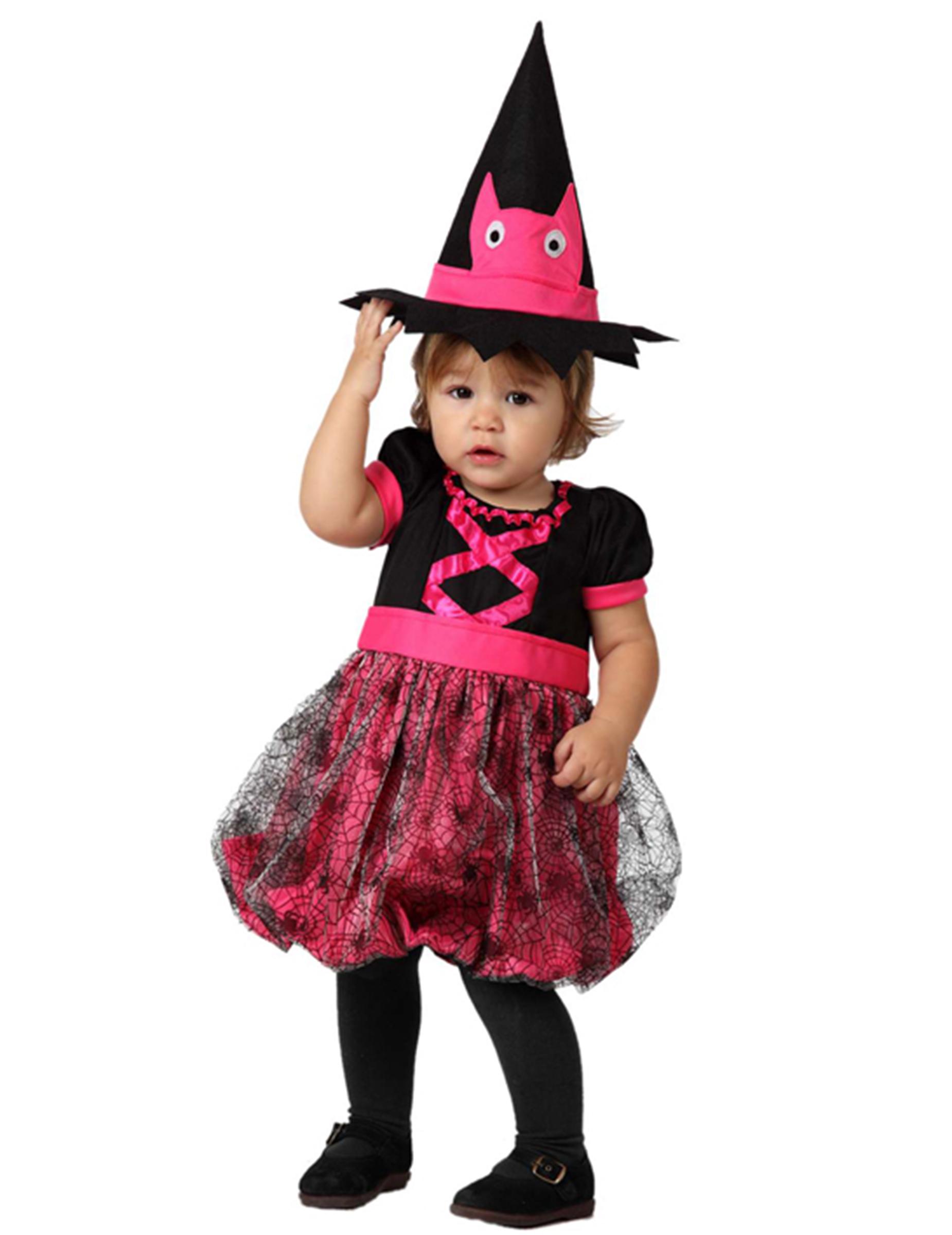 ca3b8cb5e Disfarce bébé bruxa cor-de-rosa Halloween  Disfarces Crianças ...
