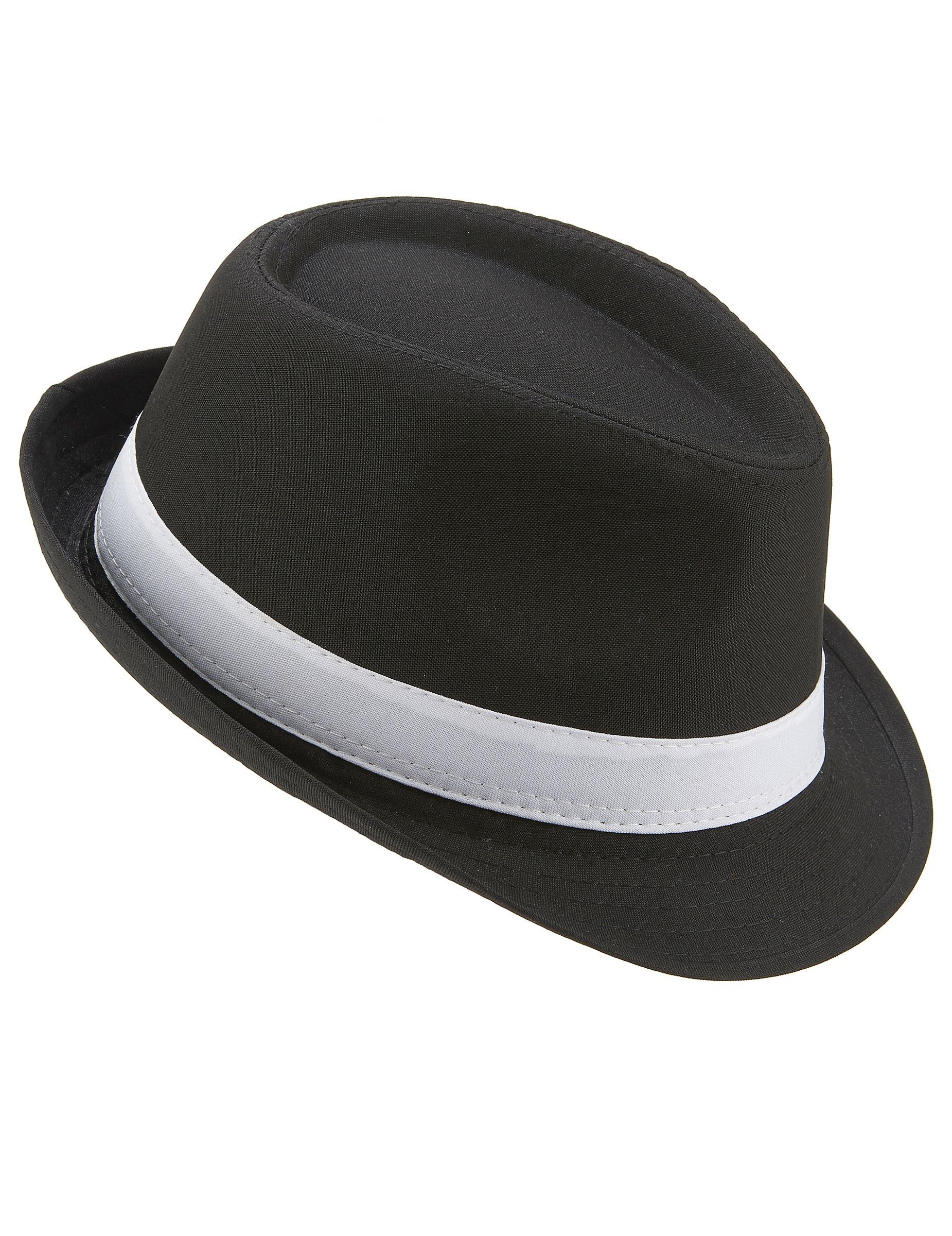 4c4335ab2eea4 Chapéu borsalino preto com faixa branca adulto  Chapéus