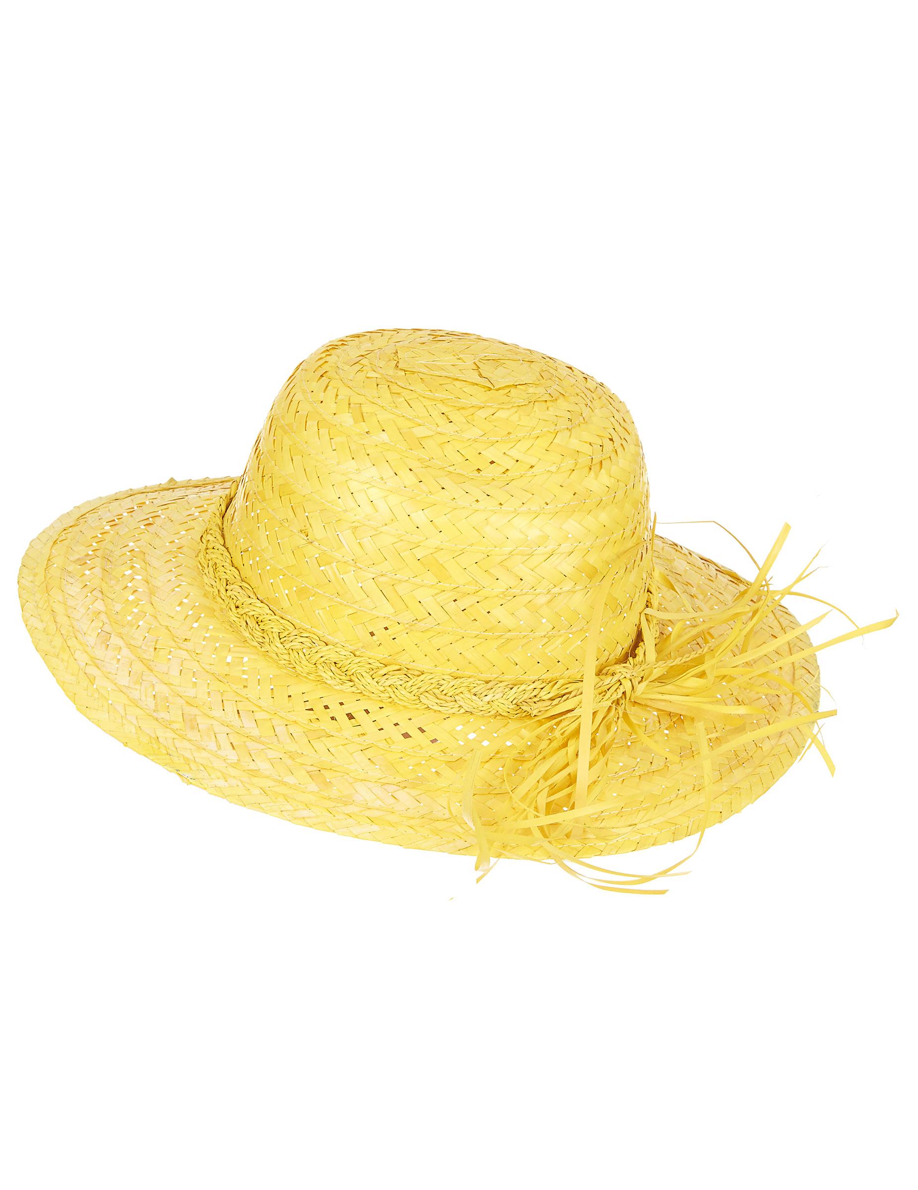 Chapéu de palha vintage amarelo mulher  Chapéus 706f349198d