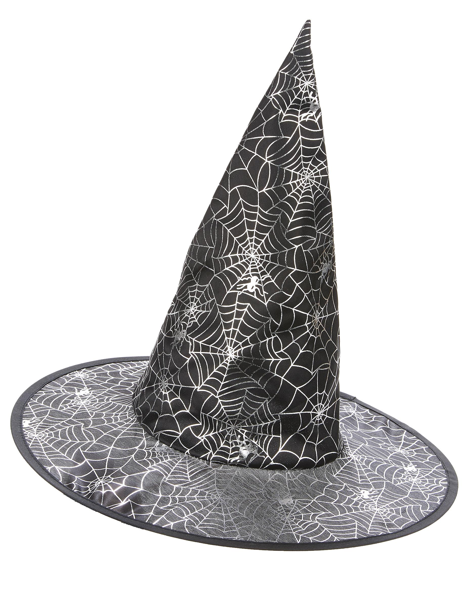 8d2b3c8e19c9a Chapéu de bruxa preto com teia de aranha branca adulto