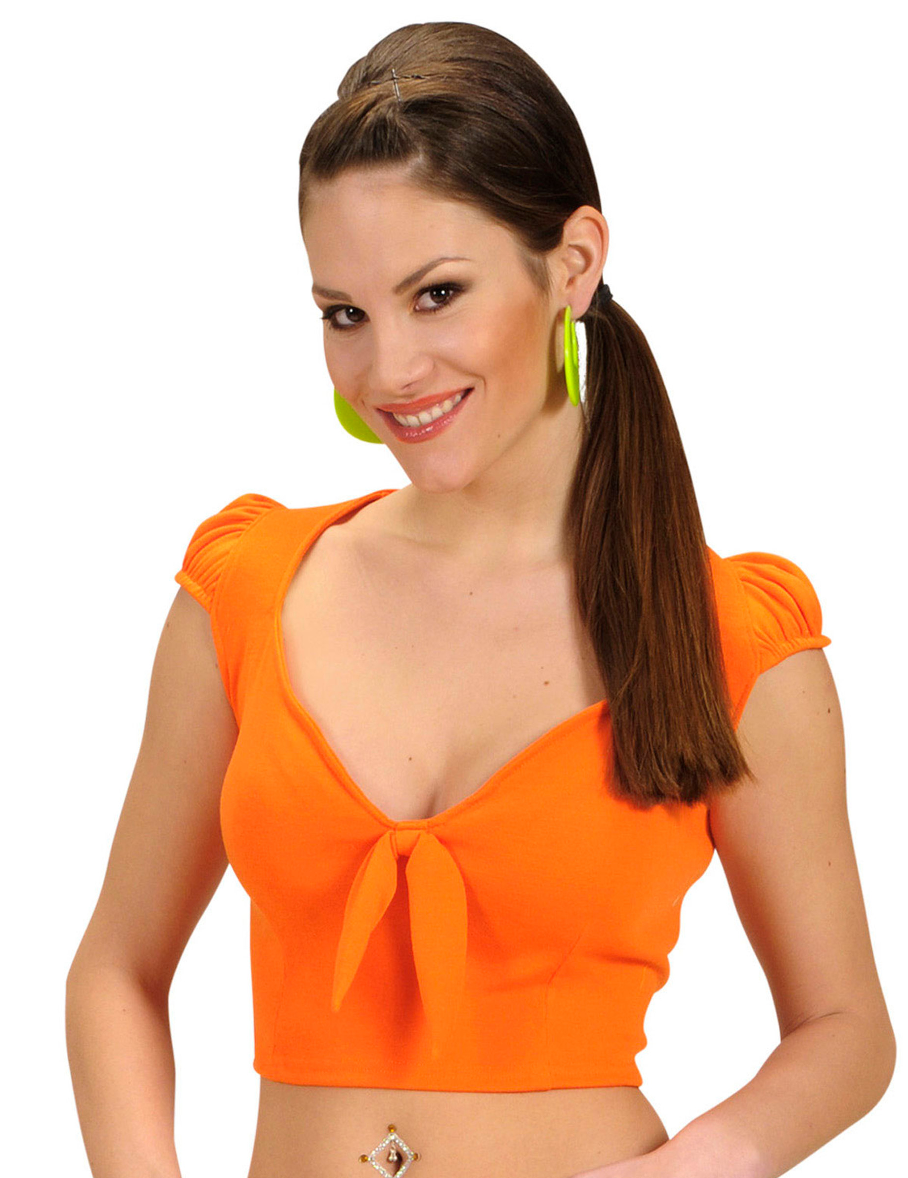 Top cor de laranja com laço sexy mulher: Disfarces Adultos