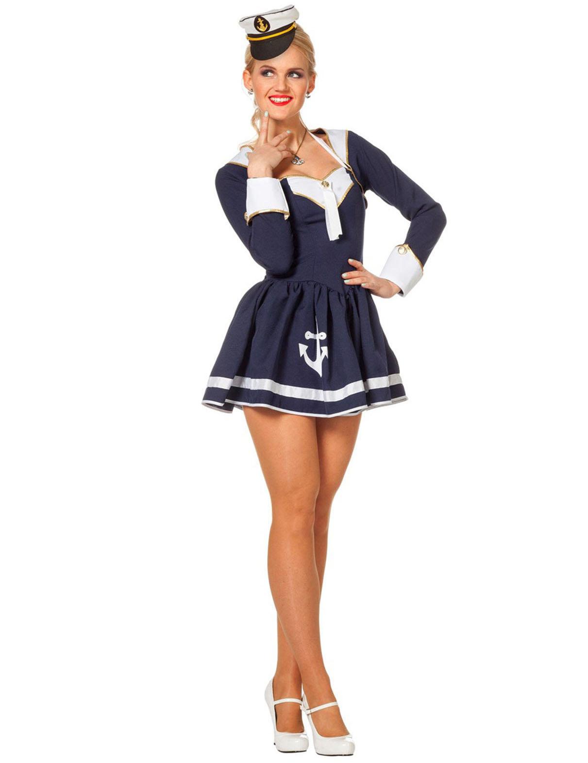 9ba441071 Disfarce marinheira sexy azul e branco mulher  Disfarces Adultos ...