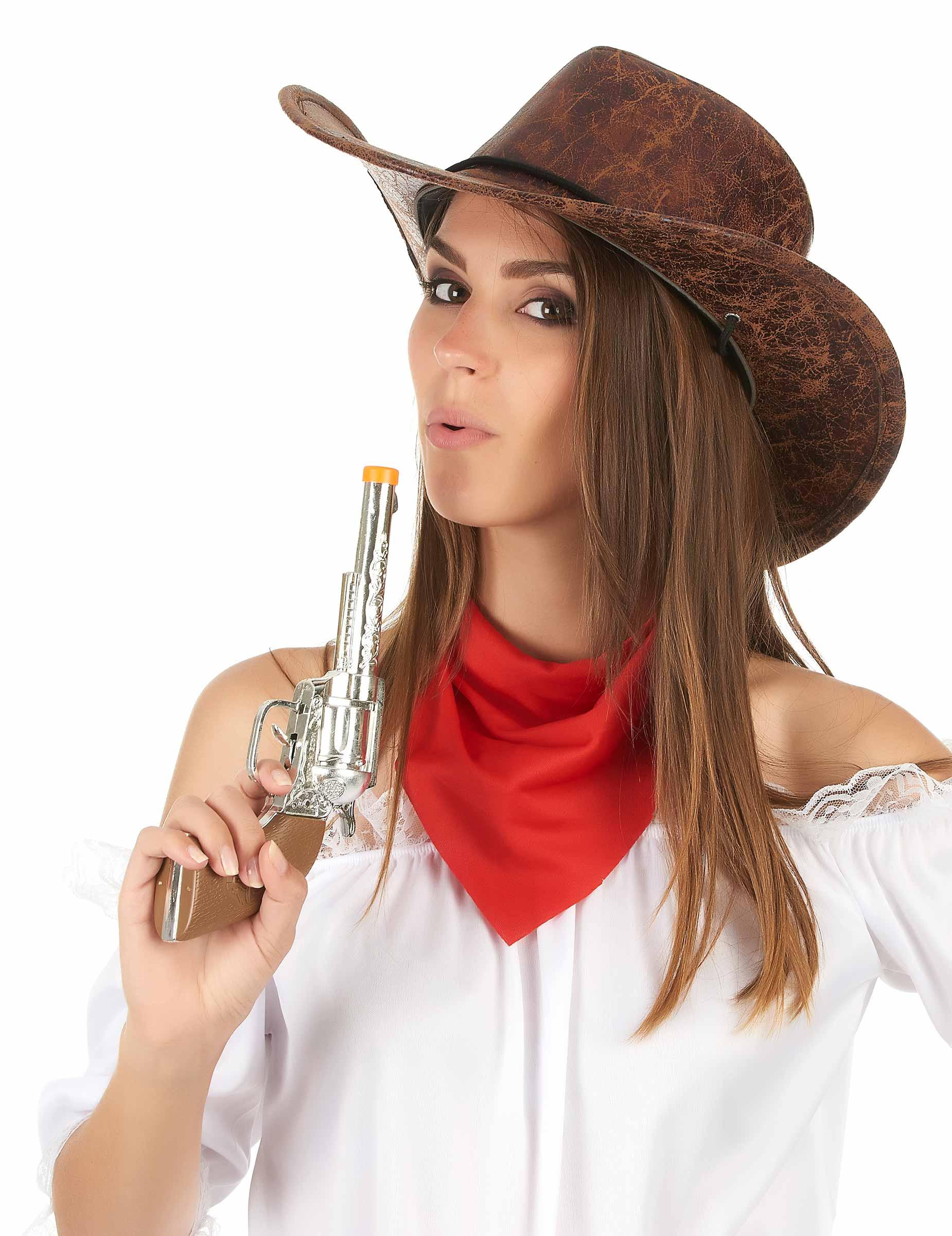 b340d0edf6f2d Chapéu de cowboy marron couro falso - adulto  Chapéus