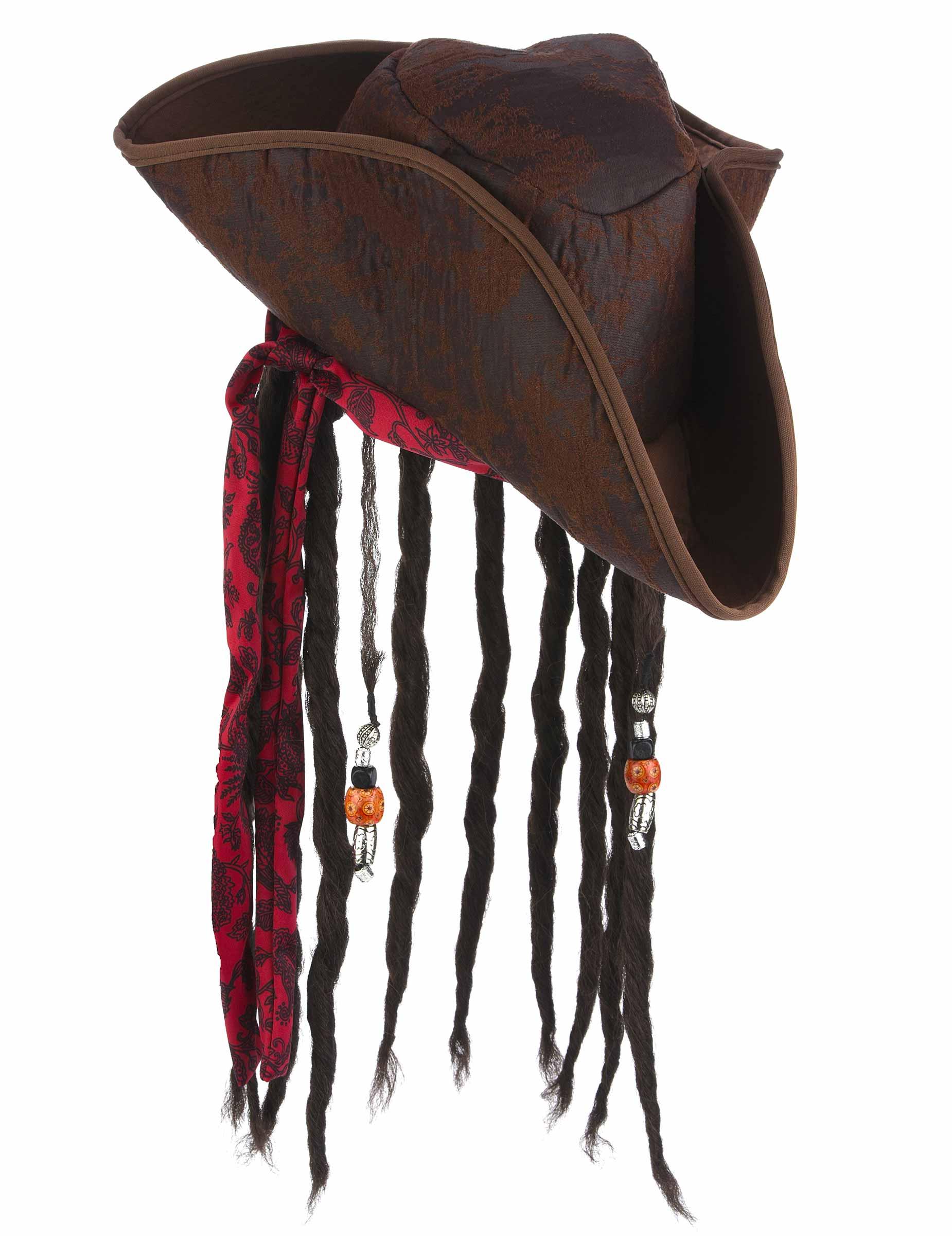 Chapéu de pirata castanho com peruca adulto  Chapéus 017eb2f364d