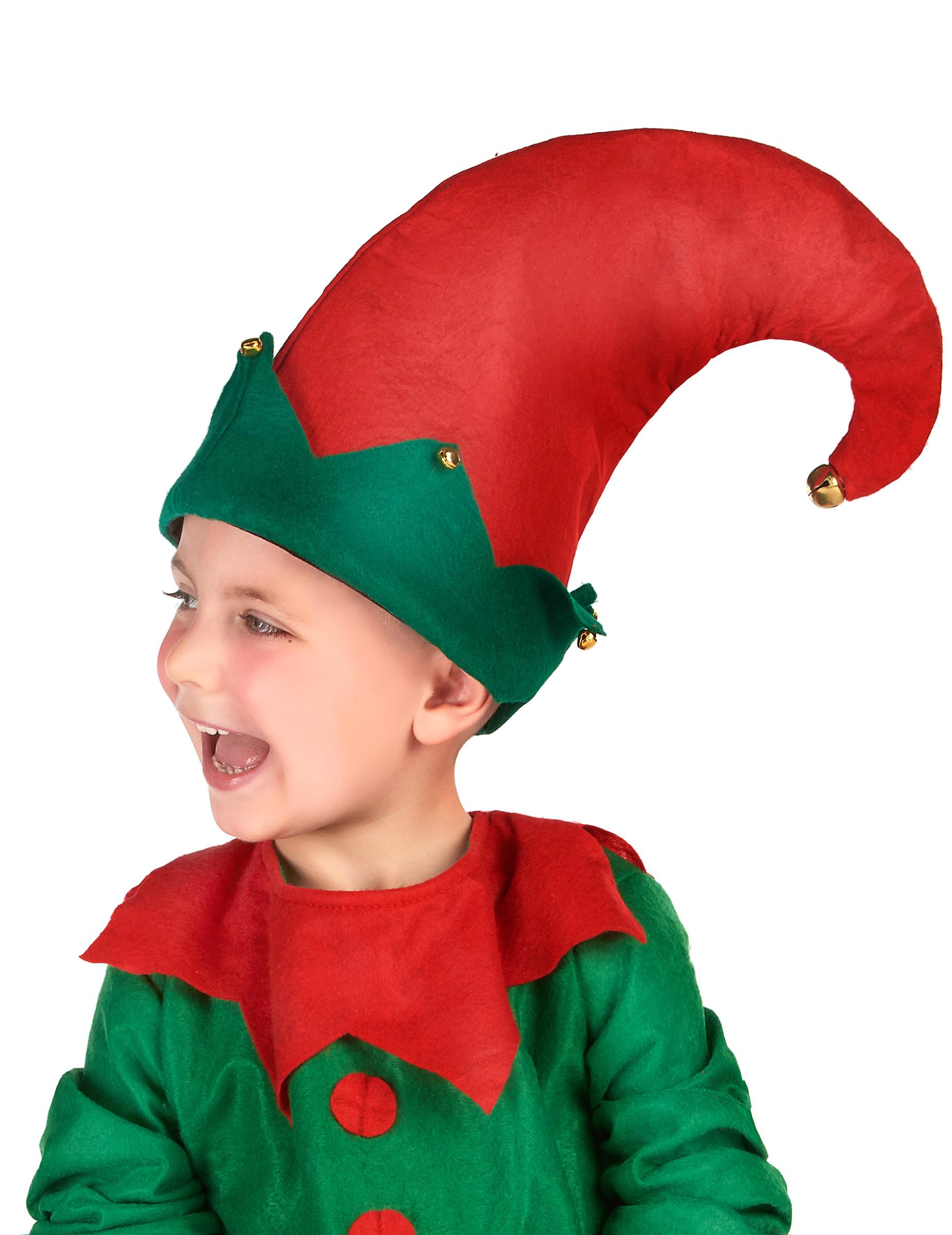 gorro de duende com chocalhos criança chapéus mascarilhas e fatos