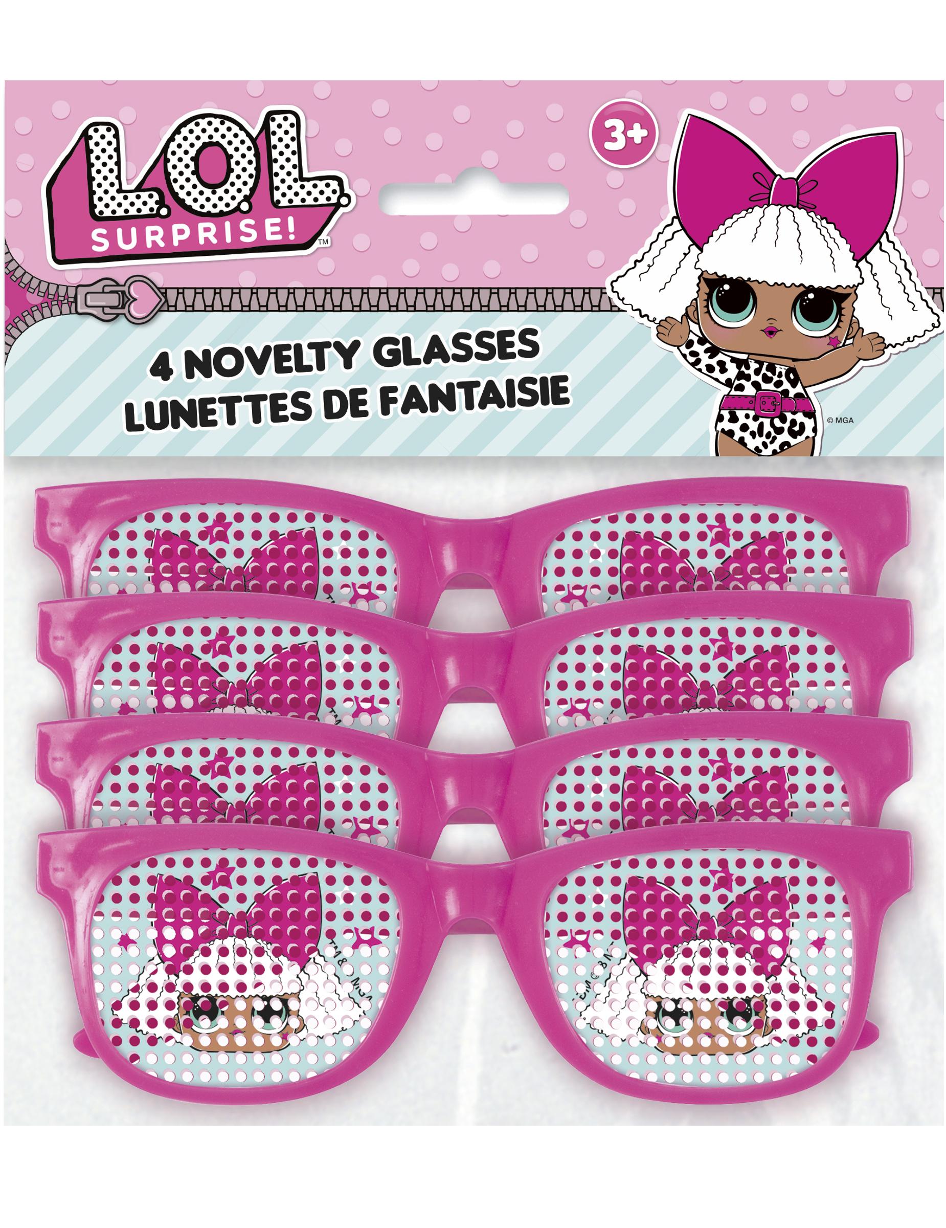 3c66d9d05 4 Pares de óculos cor-de-rosa às pintas Lol Surprise™: Acessórios ...
