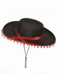 Chapéu espanhol preto e vermelho