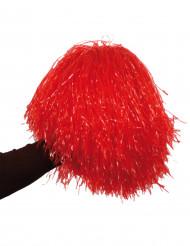 Pompom vermelho metálico
