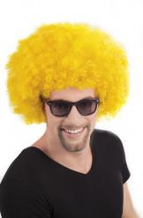 Peruca afro disco amarela adulto