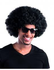 Peruca afro disco preta para adulto