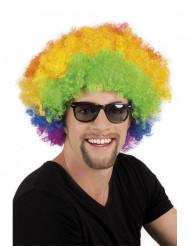 Peruca afro disco palhaço multicolor adulto