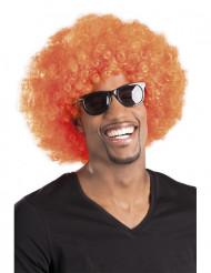 Peruca afro disco cor-de-laranja para adulto
