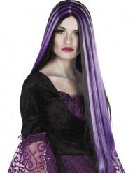 Peruca preta e violeta Halloween mulher