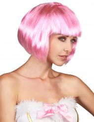Peruca cor-de-rosa curta para mulher