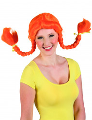 Peruca cor-de-laranja para mulher