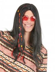 Peruca preta de hippie adulto
