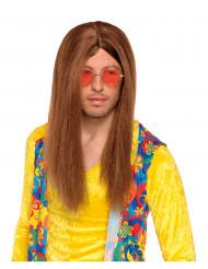 Peruca castanha de hippie adulto