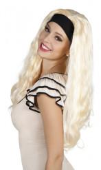 Peruca loura de cabelos compridos longa mulher