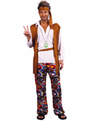 Disfarce de hippie para homem castanho e branco