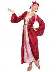 Disfarce de rainha medieval vermelho mulher