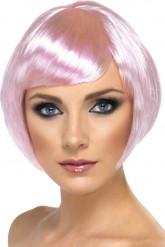 Peruca curta glamour cor-de-rosa para mulher