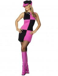 Disfarce cor-de-rosa disco mulher