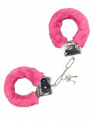 Algemas em pelo cor-de-rosa adulto