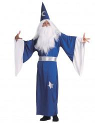 Disfarce de mago azul homem