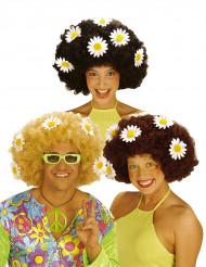 Peruca com flores para adulto