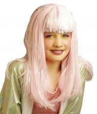 Peruca comprida cor-de-rosa menina