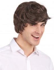 Peruca de corte moderno e cabelos castanhos para homem