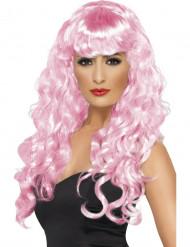 Peruca cor-de-rosa de sereia com cabelo ondulado para mulher