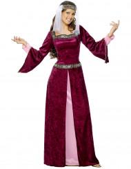 Disfarce de rainha medieval efeito veludo mulher