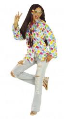 Camisa hippie branca às flores mulher