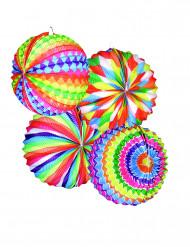 12 lanternas redondas multicolor