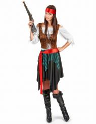 Disfarce de pirata às riscas azuis e pretas para mulher