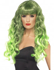 Peruca sereia encaracolada verde mulher
