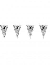Grinalda de Halloween transparente com aranhas