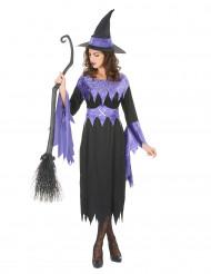 Disfarce de bruxa com chapéu mulher Halloween