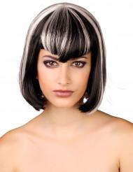 Peruca preta e branca para mulher