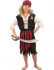 Disfarce de pirata preto e vermelho para rapariga