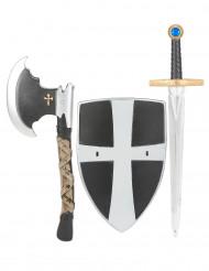 Escudo espada e machado de cavaleiro medieval