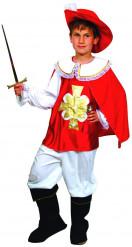 Disfarce mosqueteiro vermelho e branco rapaz