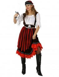 Disfarce de pirata às riscas vermelhas e pretas mulher